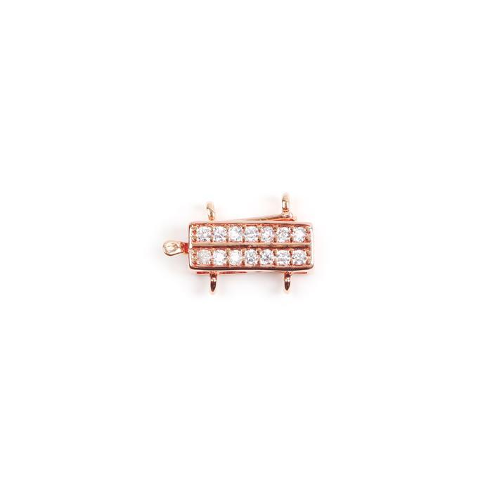 Rose Gold Plated Base Metal CZ Set 2 Strand Box Clasp Approx 15x11mm (1pc)
