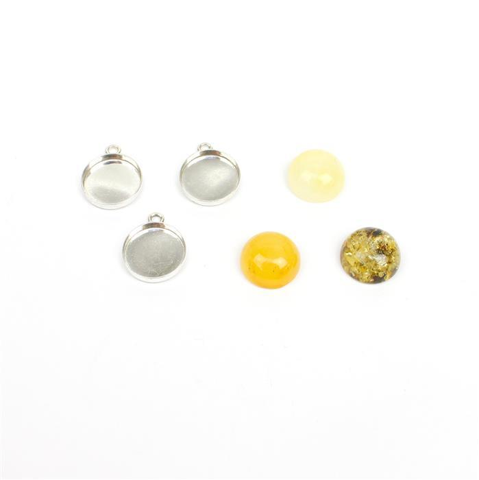 Baltic Amber Cabochons Approx. 12mm & Sterling Silver Bezels, Approx 13x16mm  (3pk - Earthy, Butterscotch, Off-White)