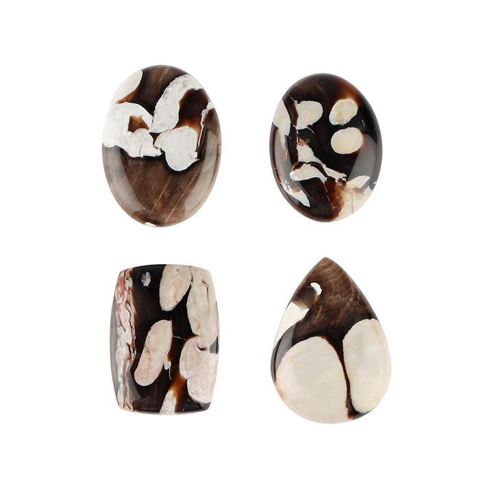 94cts Peanut Wood Jasper Multi Shape Cabochons. (Pack of 4)