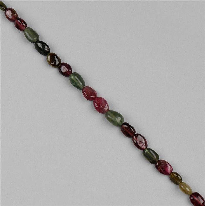36cts Multi Colour Tourmaline Graduated Plain Ovals Approx 5x4 to 8x6mm, 18cm Strand.