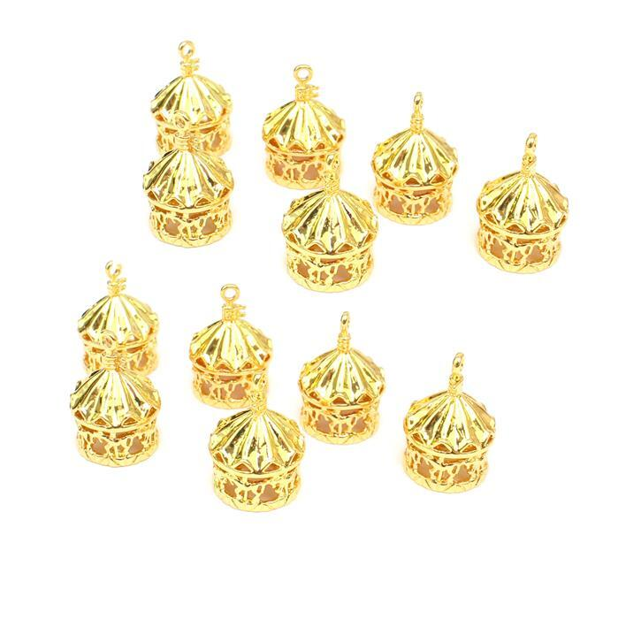 Double Trouble 2x Gold Colour Base Metal Carousel Pendants Approx 23x15mm(6pcs)