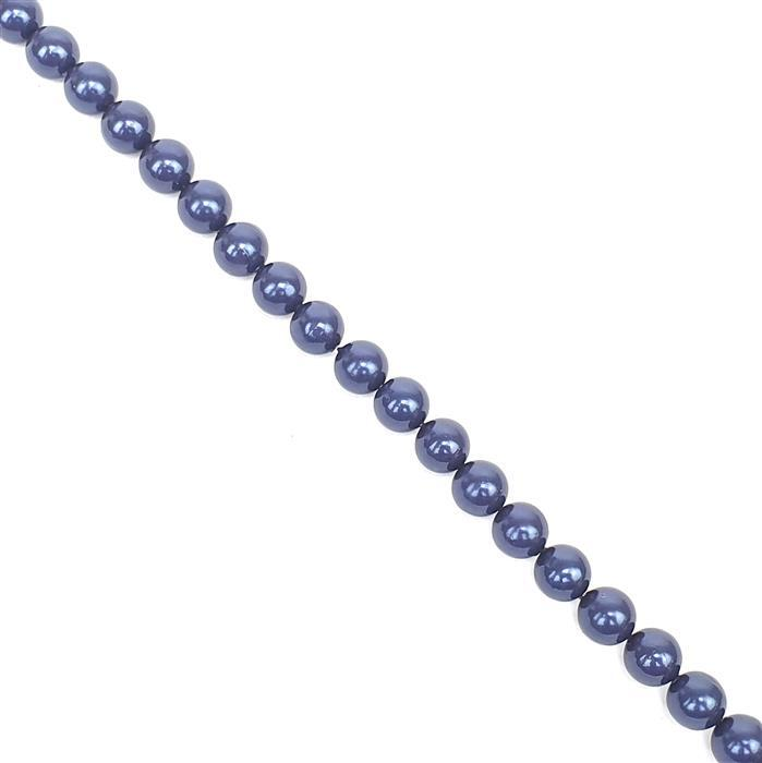 Deep Blue Shell Pearl Plain Rounds Approx 8mm, 38cm length