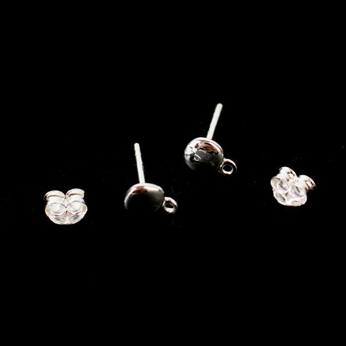925 Sterling Silver Pebble Earring Finding with Butterfly Back Approx 5mm, 1 Pair