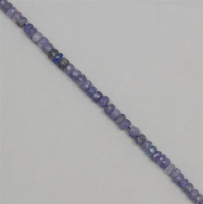 50cts Tanzanite Graduated Faceted Rondelles Approx 3x2 to 5x2mm, 18cm Strand.