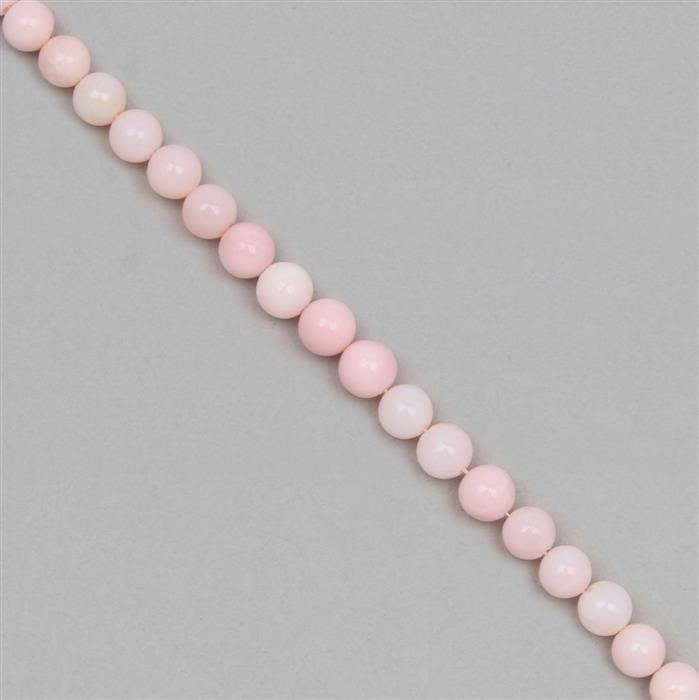 30cts Pink Opal Plain Rounds Approx 5mm, 18cm Strands.