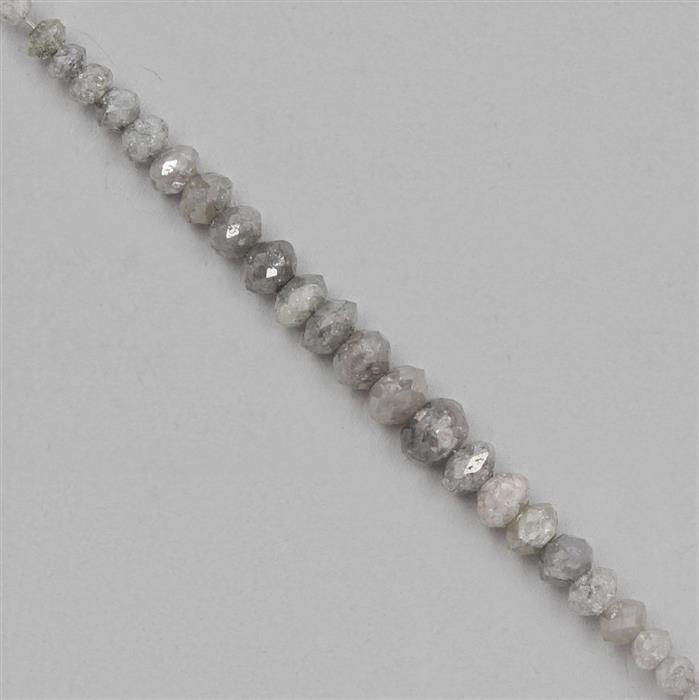 7.5cts Silver Coloured Diamond Graduated Faceted Rondelles Approx 1x1 to 4x2mm, 8cm Strand.