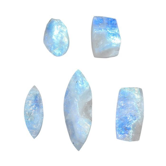 88cts Rainbow Moonstone Multi Shape Raw Top Cabochons Assortment.