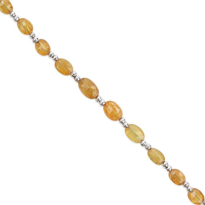 11cts Yellow Sapphire Graduated Faceted Ovals Approx 4x2 to 6x4mm with 1mm Drill Hole, 8cm Strand.