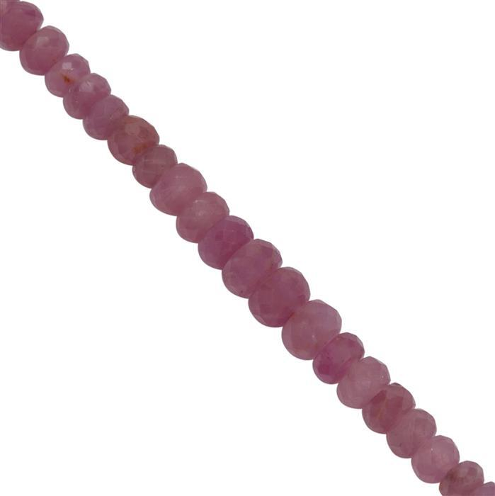 25cts Ruby Faceted Rondelles Approx 2x1 to 4x3mm, 20cm Strand