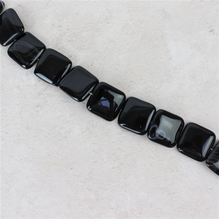 610cts Black Stripe Agate Puffy Squares Approx 25mm, 38cm