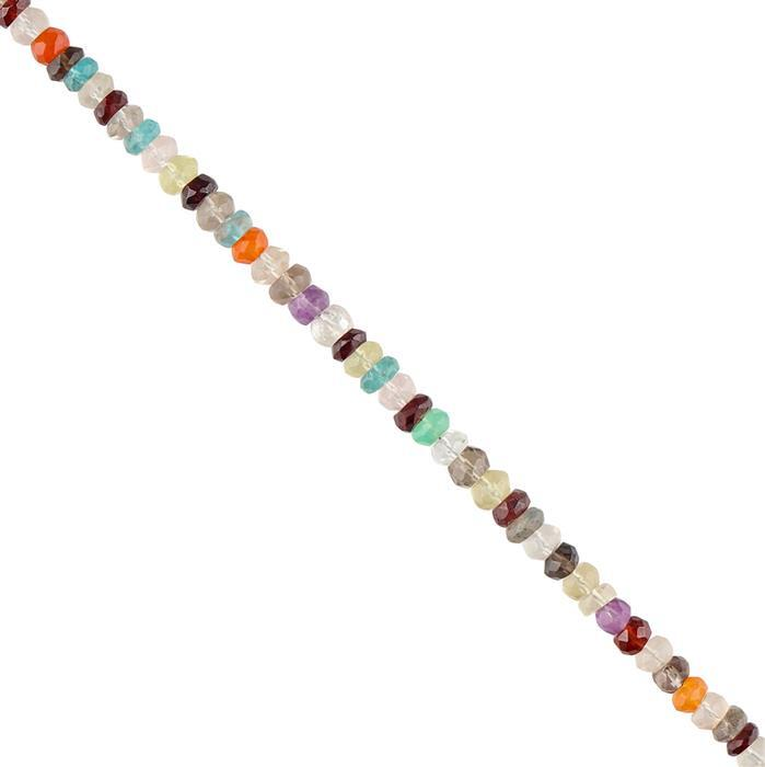 40cts Multi Gemstone Graduated Faceted Rondelles Approx 3x1 to 5x3mm, 30cm Strand.