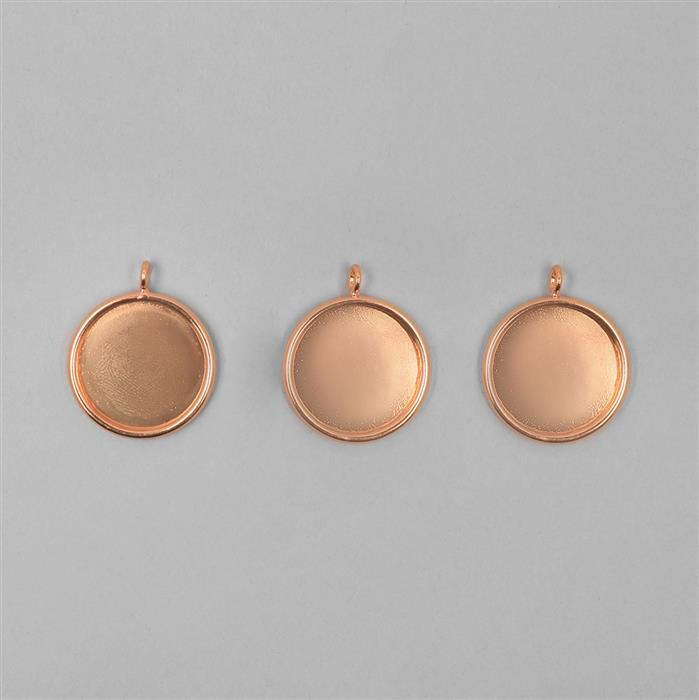 Rose Gold Plated Round Bezel Pendants Approx 20mm - 3pcs