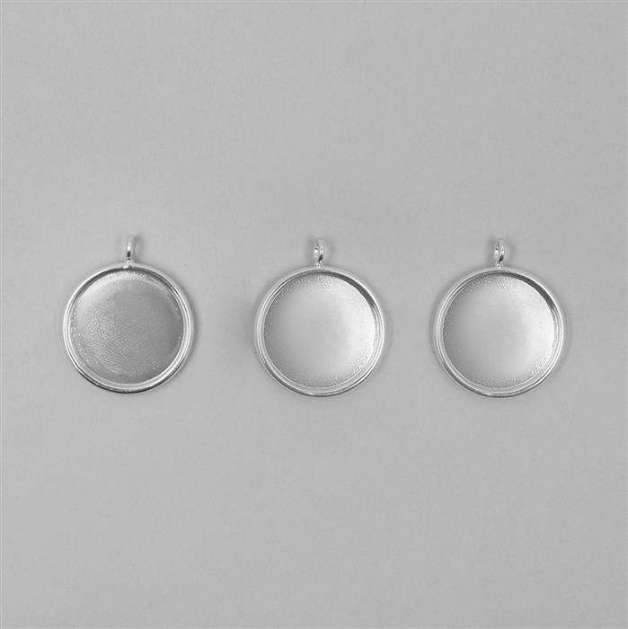 Silver Plated Round Bezel Pendants Approx 20mm - 3pcs