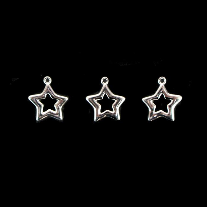 925 Sterling Silver Silhouette Star Pendants 12mm, 3pc