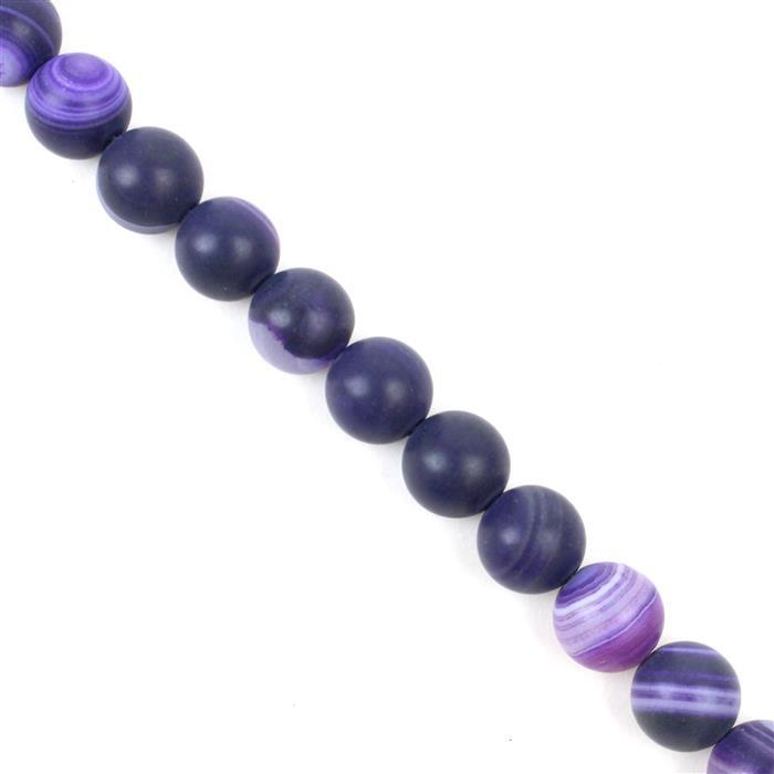 250cts Purple Striped Frosted Agate Rounds Approx 10mm, 38cm strand