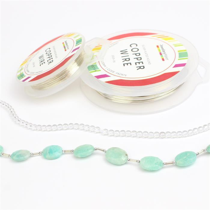 Amazing Amazonite; 60cts Amazonite, 30cts Clear Quartz & Silver plated copper wire