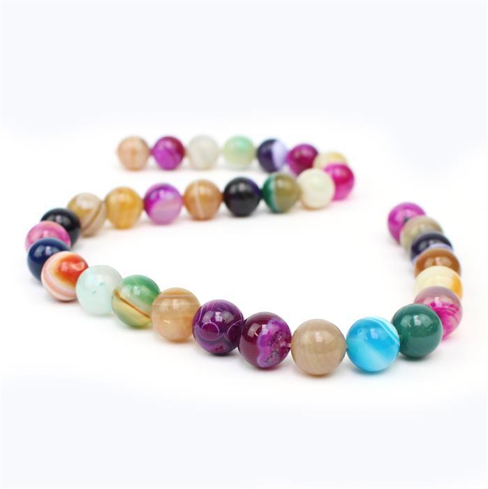 390cts Multi-colour Agate Plain Rounds Approx 12mm, 38cm strand