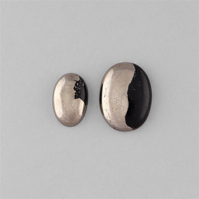 68cts Apache Gold Pyrite Multi Size Oval Cabochons. (2pcs)