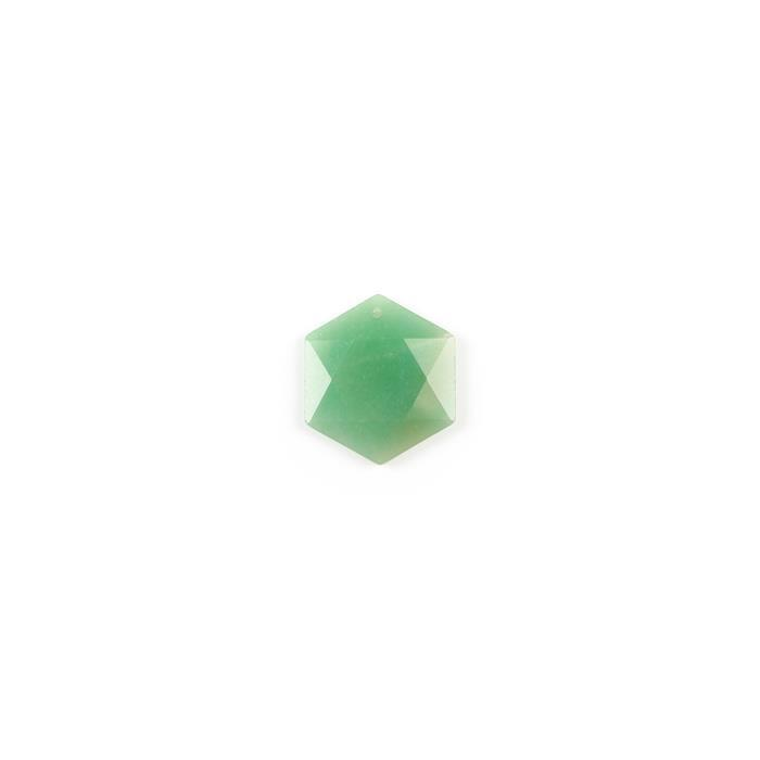 35cts Green Aventurine Hexagon Pendant Approx 34x30mm