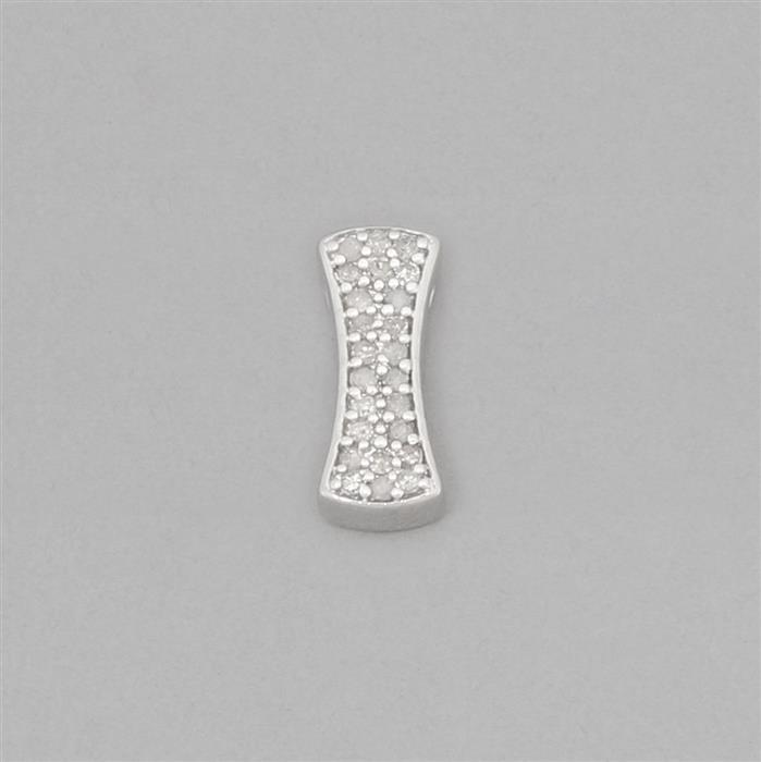 The Diamond Collection: 925 Sterling Silver Curved Rectangle Diamond Spacer Approx 13x5mm Inc. 0.16cts Diamond Round Approx 1mm