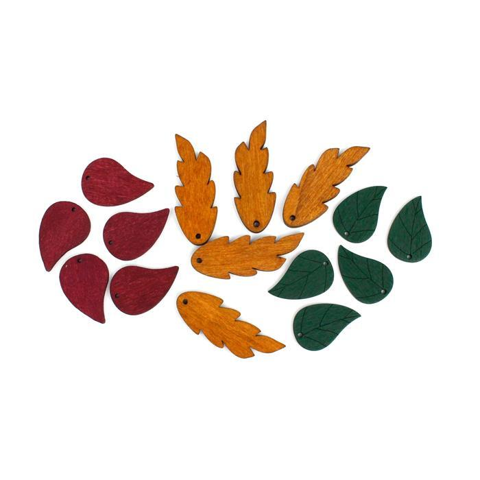 Wooden Leaves! Inc, Burgundy, Green & Brown. 25 Total.