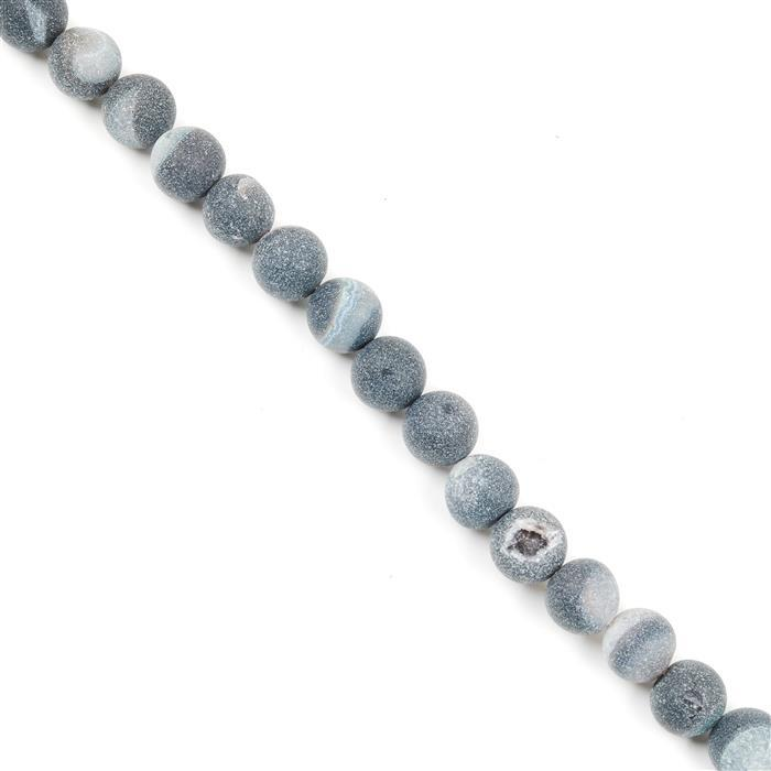 260cts Black Frosted with Druzy hole Agate Plain Rounds Approx 10mm, 38cm Strand