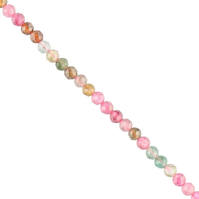 25cts Multi-Colour Tourmaline Faceted Rounds Approx 3mm, 38cm Strand.