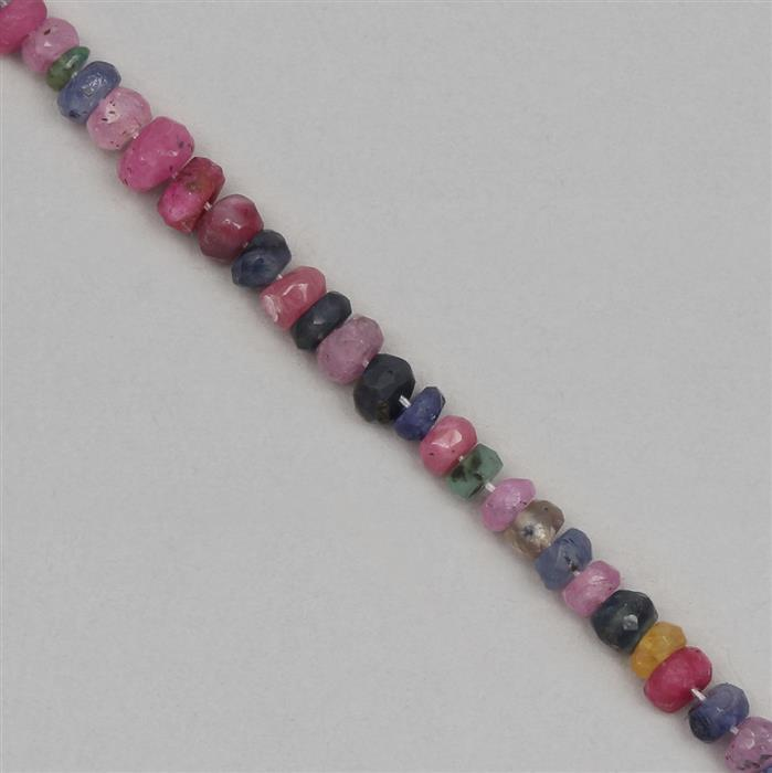 30cts Ruby, Emerald & Sapphire Graduated Faceted Rondelles Approx 2x1 to 5x2mm, 18cm Strand.