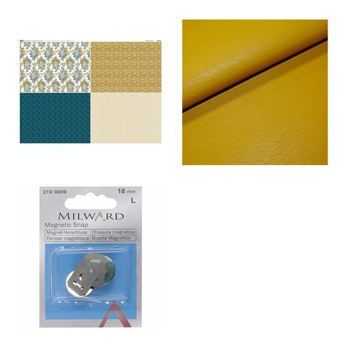 Debbie Shore Copen Summer Mustard Bag Kit: Fabric (0.5m), FQ Fabric Panel & Magnetic Snap