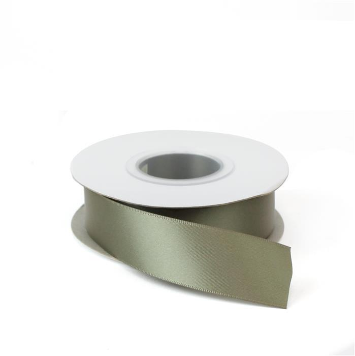 Deep Sage Double Faced Satin Ribbon, Width Approx 25mm (20m Length)