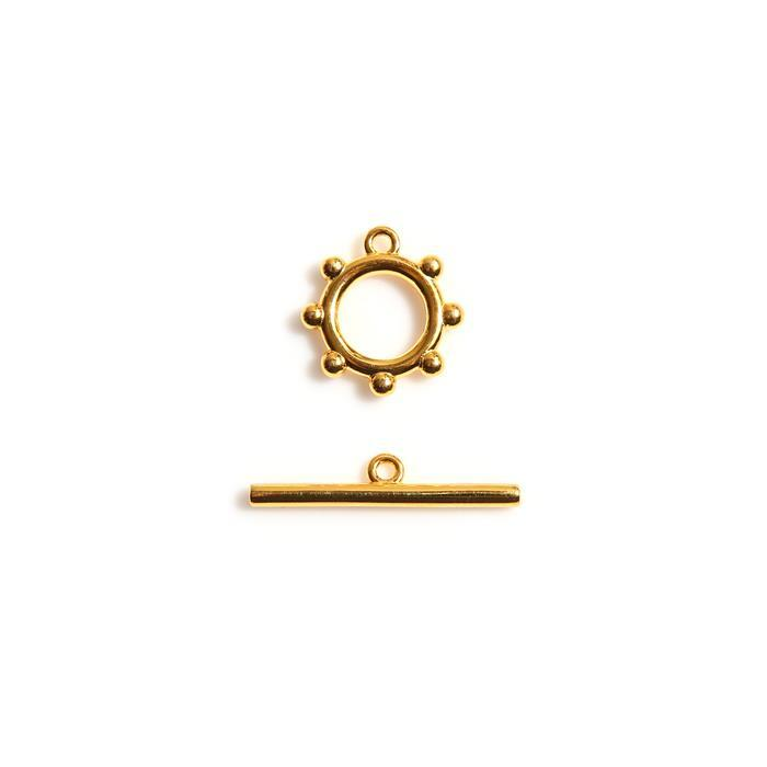 Gold Plated 925 Sterling Silver Beaded Ring Toggle Clasp 23mm, 11mm