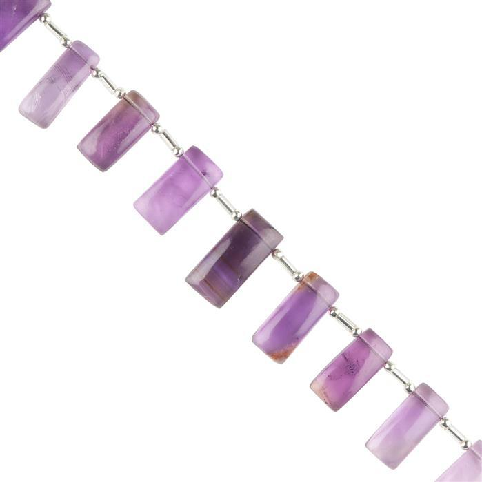 85cts Amethyst Graduated Plain Bars Approx 13x7 to 21x8mm, 18cm Strand.