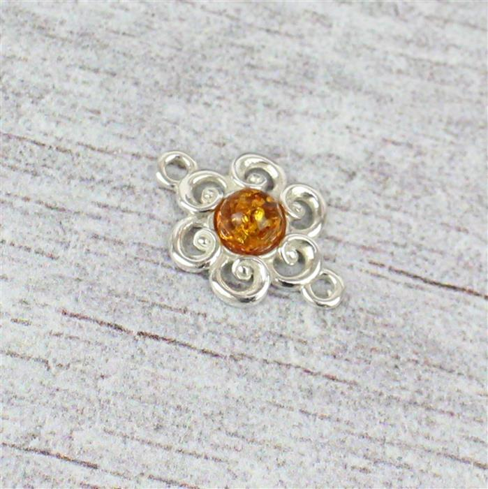 Baltic Cognac Amber Flower Sterling Silver Connector 17x11mm