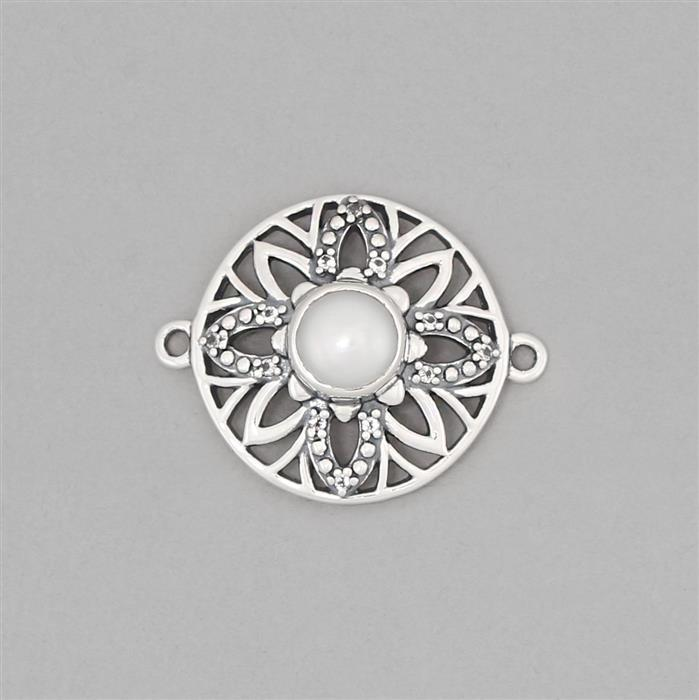925 Sterling Silver Oxidised Vintage Connector Approx 23x18mm Inc. Freshwater Cultured Pearl & White Topaz Round