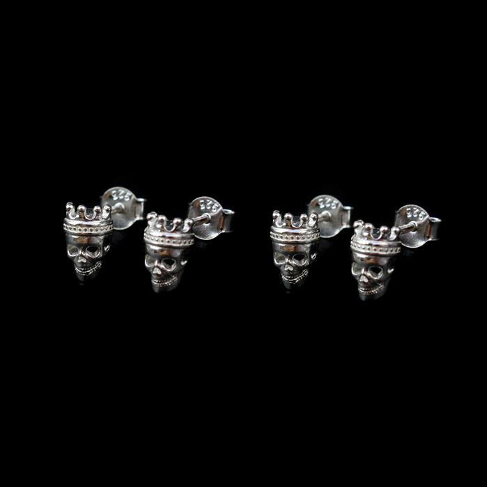 925 Sterling Silver Crown Skull Earrings with Butterfly Back Approx 8x5mm 2 Pairs