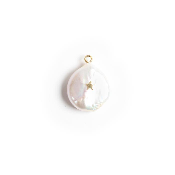 Freshwater Baroque Pearl Charm With Gold Plated 925 Sterling Silver Star Approx 18x23mm