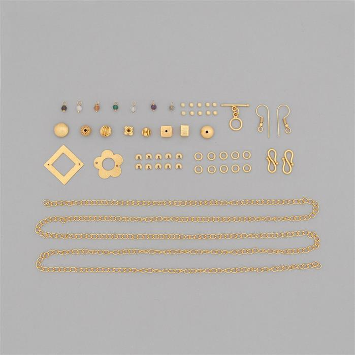 Gold Plated Copper Jewellery Findings Kit with Approx 52.5cts Multi Gemstone Loops (Approx 400pcs)