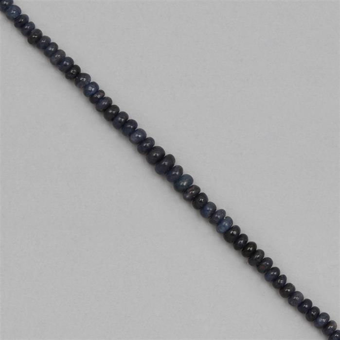 38cts Burmese Sapphire Graduated Plain Rondelles Approx 2x1 to 5x3mm, 25cm Strand.