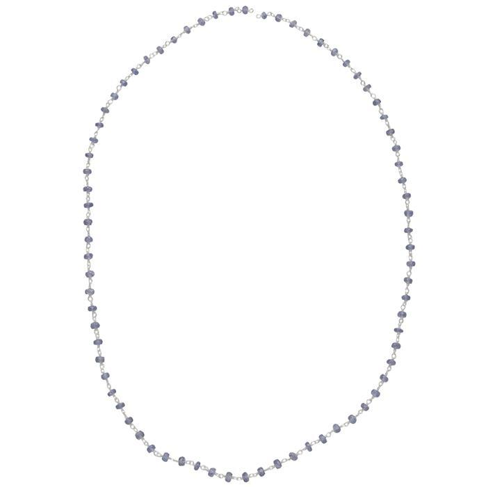 50cm 925 Sterling Silver Gemstone Chain Inc. 10cts Tanzanite Faceted Rondelles Approx 2x1mm.