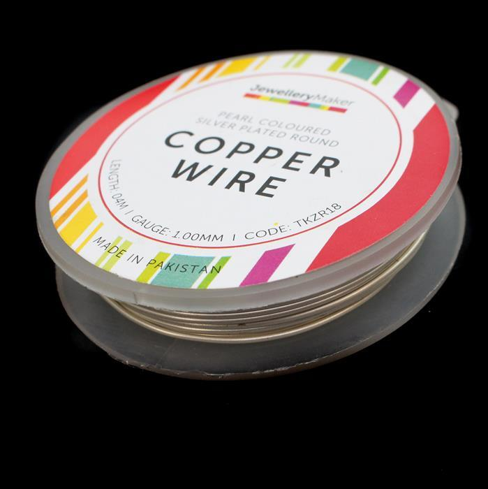 Pearl Coloured Silver Plated Copper Wire - 1mm (4m)