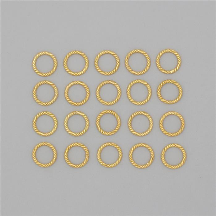 Gold Plated Copper Twisted Wire Jump Rings Approx 18mm (20pcs)