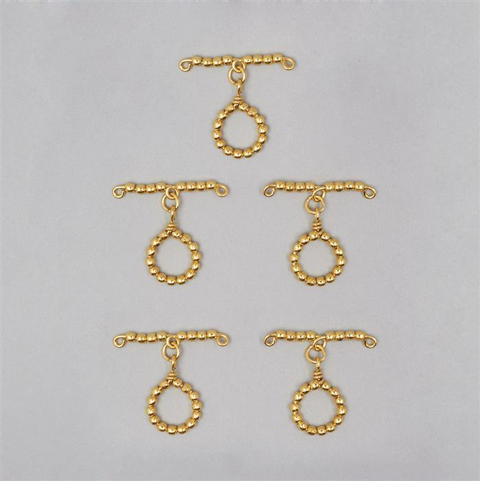 Gold Plated Copper Beaded Toggle Clasp Approx 46mm T-Bar & Approx 23mm Round (5 Pcs)