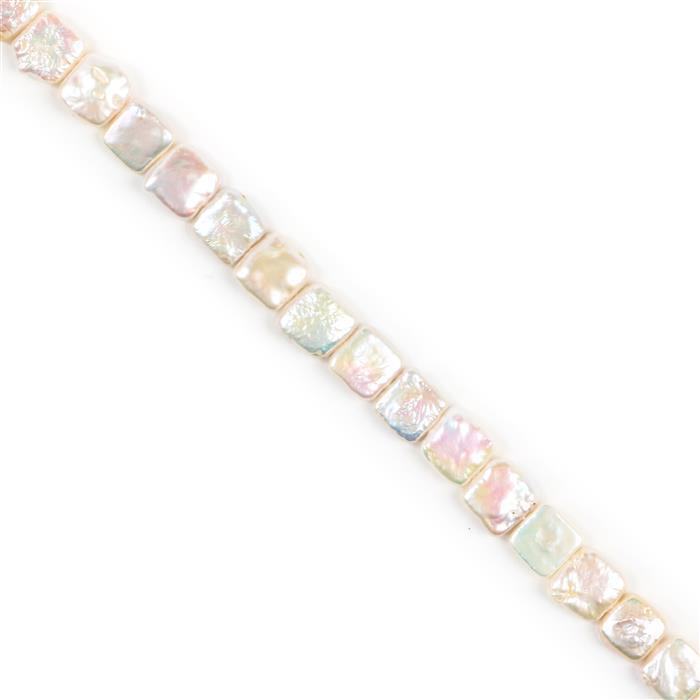 White Freshwater Cultured Pearl Squares Approx 10x10mm, 38cm Strand