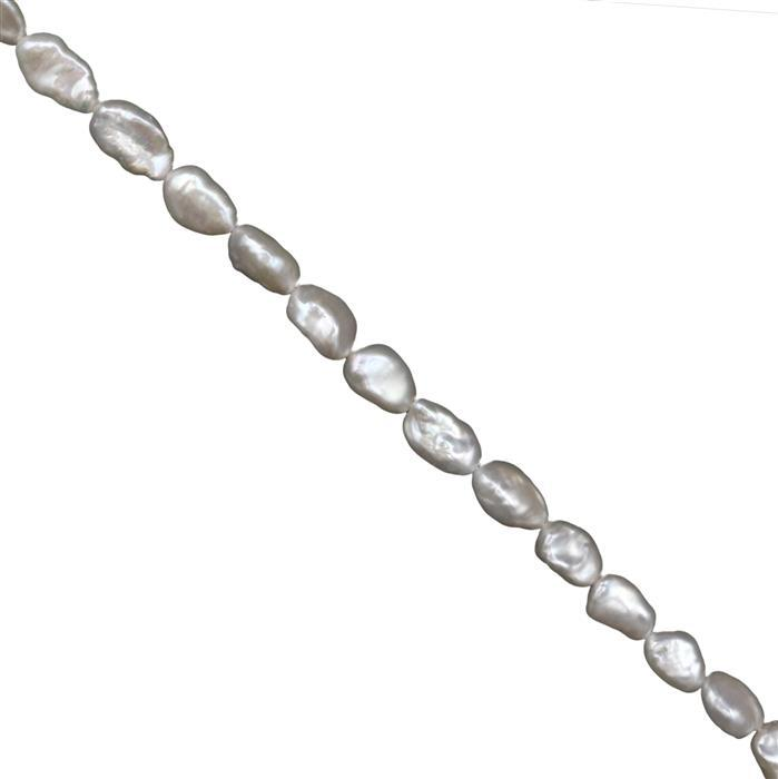 White Freshwater Cultured Keshi Pearls Approx 7-8mm X 10-11mm, 38cm Strand