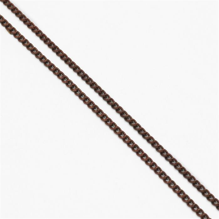 Antique Bronze Plated Brass Curb Chain - 1x1.6mm (1m)