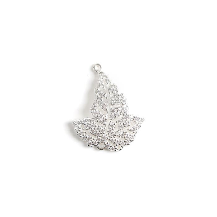925 Sterling Silver Cubic Zirconia Leaf Connector Approx 23x25 mm, 1pcs