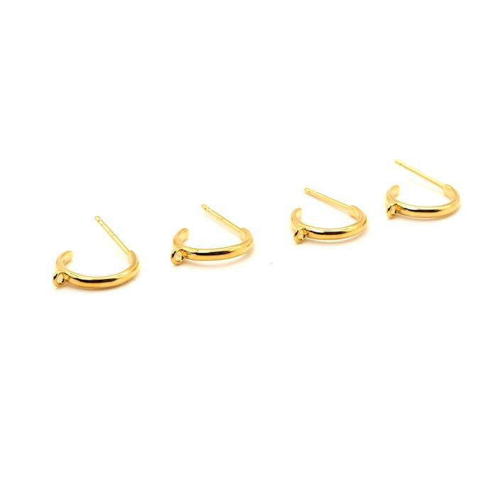 Gold Plated 925 Sterling Silver Hoop Earrings With Loop Approx 12mm (2Pairs)