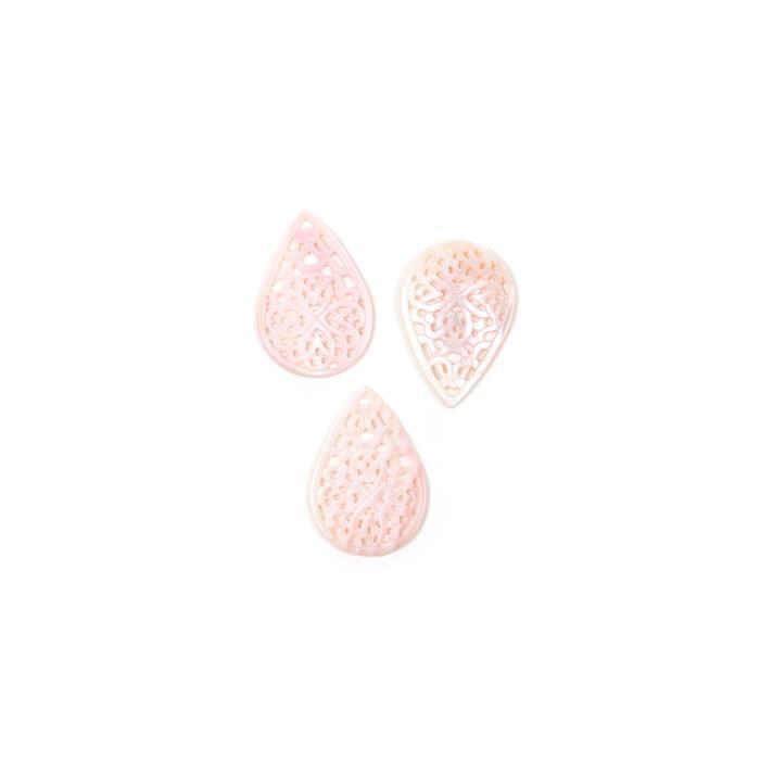 Pink & White Shell Patterned Pears Approx 23x33mm 3pcs/pack