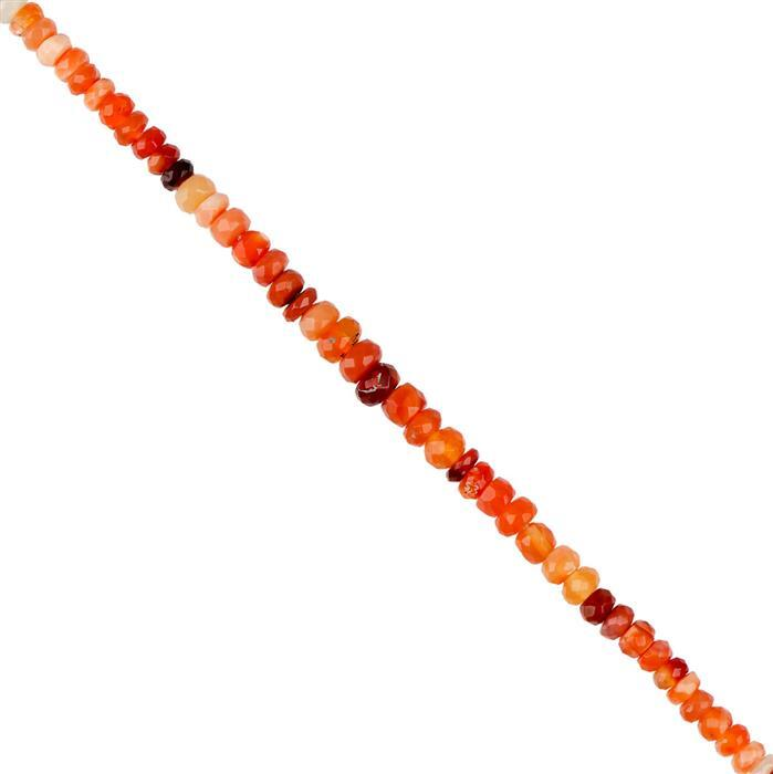 22cts Mexican Fire Opal Graduated Faceted Rondelles Approx 2x1 to 5x2mm with 1mm Drill Hole, 18cm Strand.
