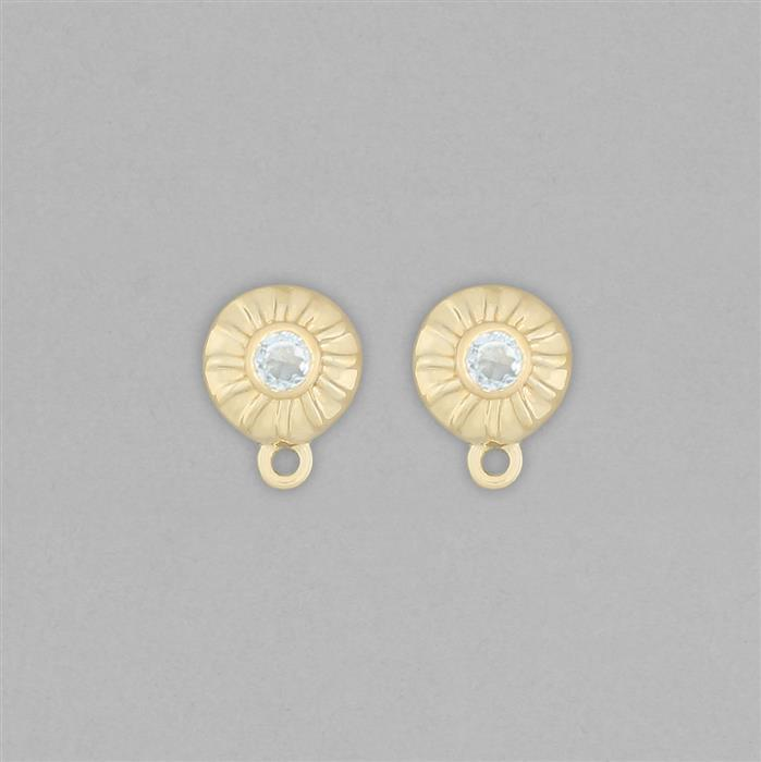 Gold Plated 925 Sterling Silver Stud Earrings with Loops Approx 11x8mm Inc. 0.30cts Sky Blue Topaz Round Approx 3mm